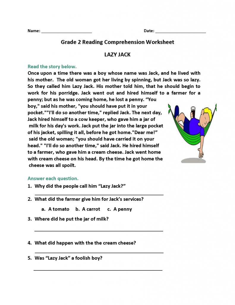 2nd Grade Reading Worksheets Reading comprehension
