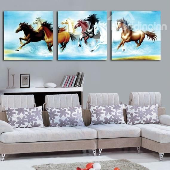 New Arival Beautiful Horses Running In The Water Print 3 Piece Cross Film Wall Art Prints Bedd Fish Wall Art Horse Wall Art Canvases Wall Art Canvas Painting