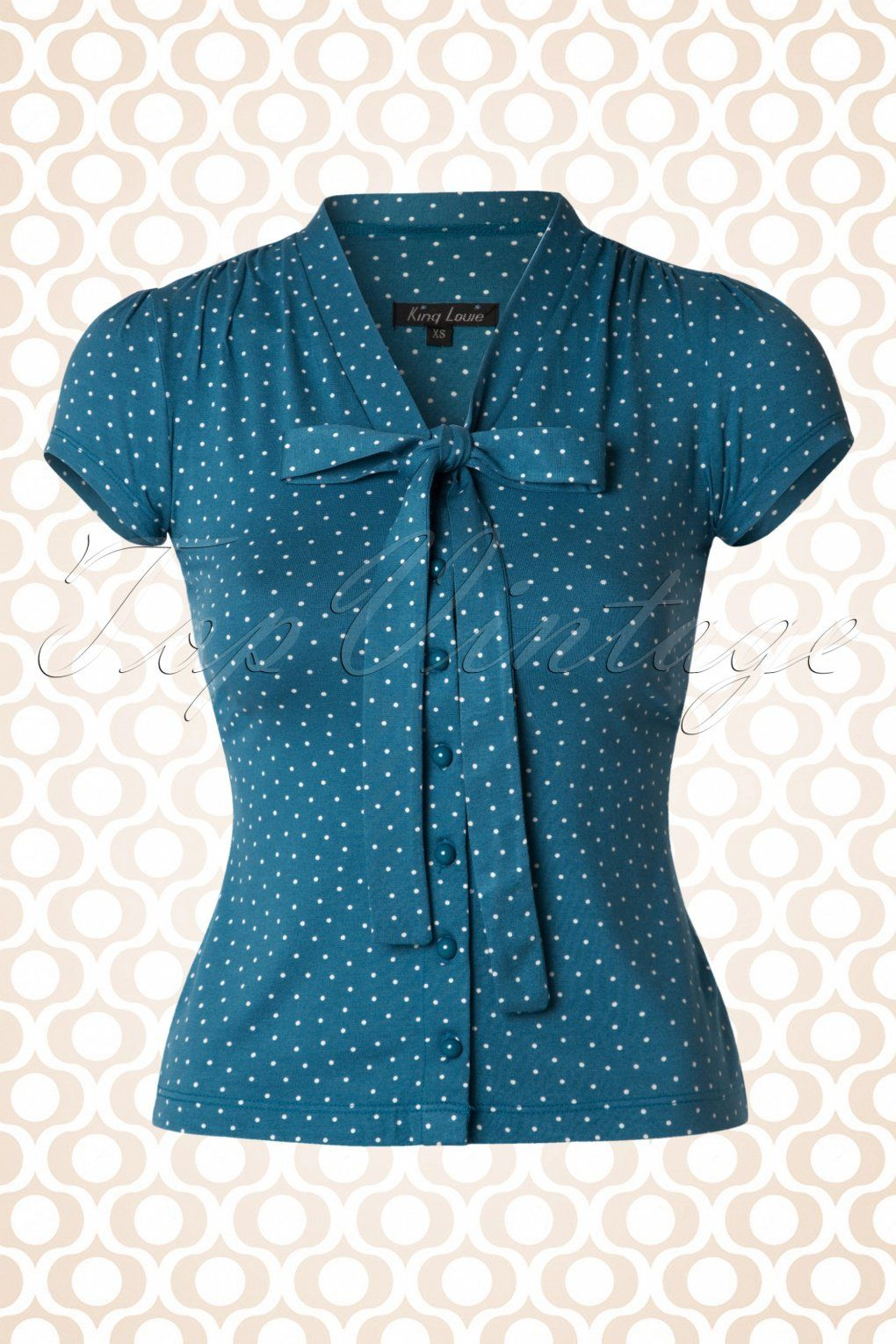054f020fa This cute 50s Bow Little Dots Blouse is simply irresistible! The two fixed  tie straps