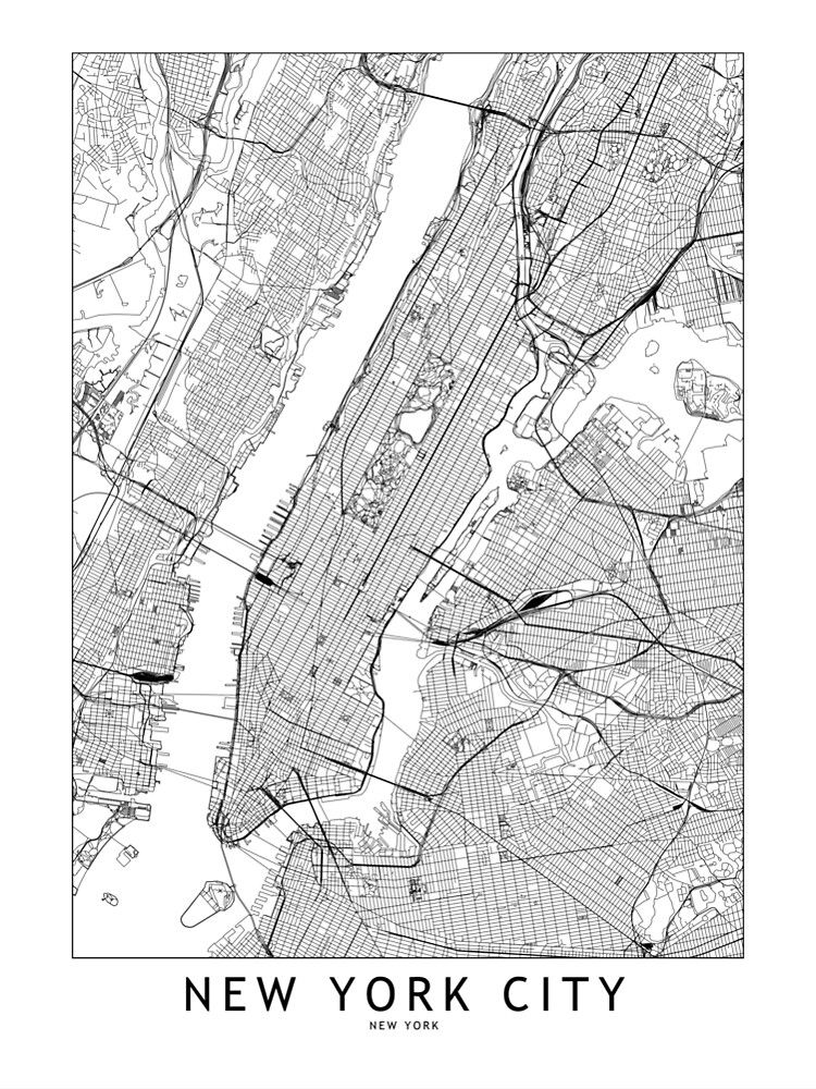 New York White Map Poster By Multiplicitymap In 2020 Nyc Map Map Of New York New York Poster