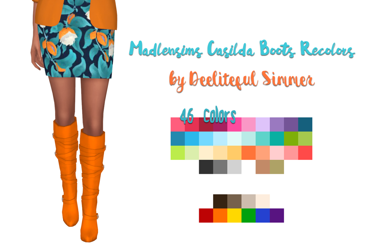 Deelitefulsimmer : Madlensims Casida Boots Recolors  | Sims4