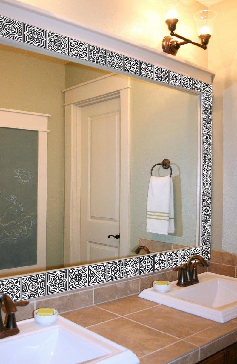 Vinyl Tile Sticker Stripes Self Adhesive Portuguese Etsy In 2021 Bathroom Mirror Makeover Bathroom Mirror Frame Large Bathroom Mirrors