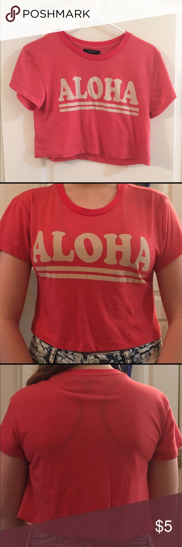 red Aloha crop top t shirt material, barely worn, no flaws, comfy Forever 21 Tops Crop Tops