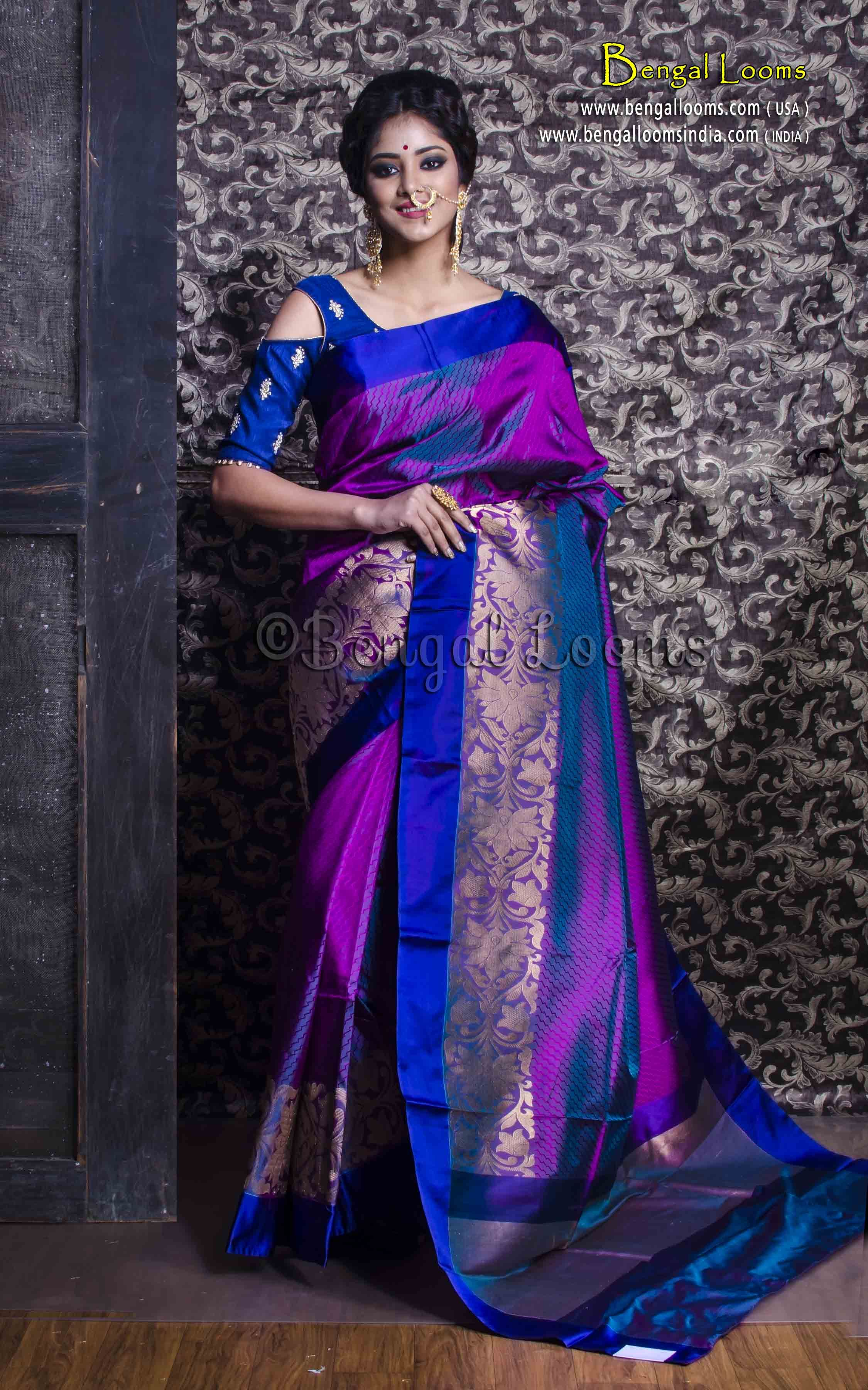 Pure Katan Silk Banarasi Saree In Purple And Blue Indian
