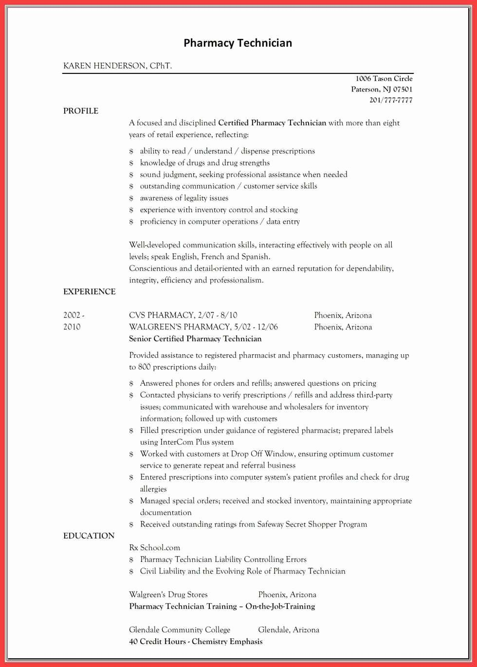 50 New Pharmacy Technician Resume Template in 2020 (With