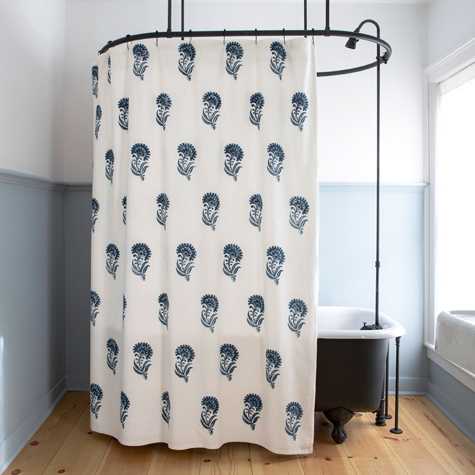 Indian Flower Shower Curtain In Indigo With Images Flower