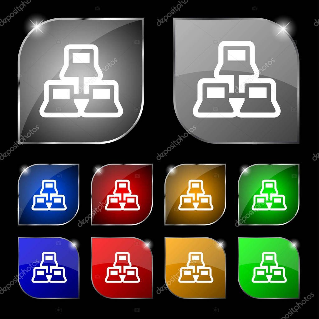 Local Area Network Icon Sign Set Ten Colorful Buttons