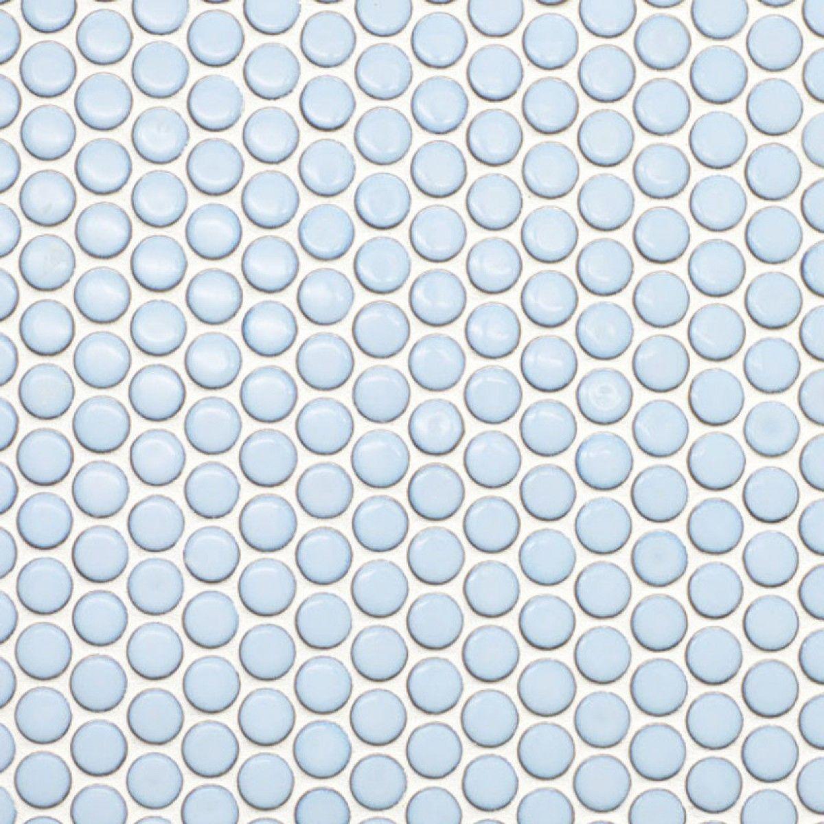 Blaue Fliesen: Light Blue Penny Round Porcelain Mosaic
