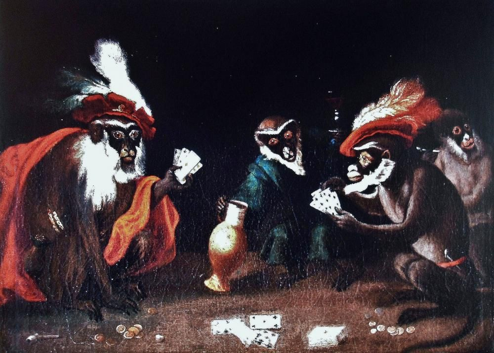 Abraham Teniers - Gambling Monkeys