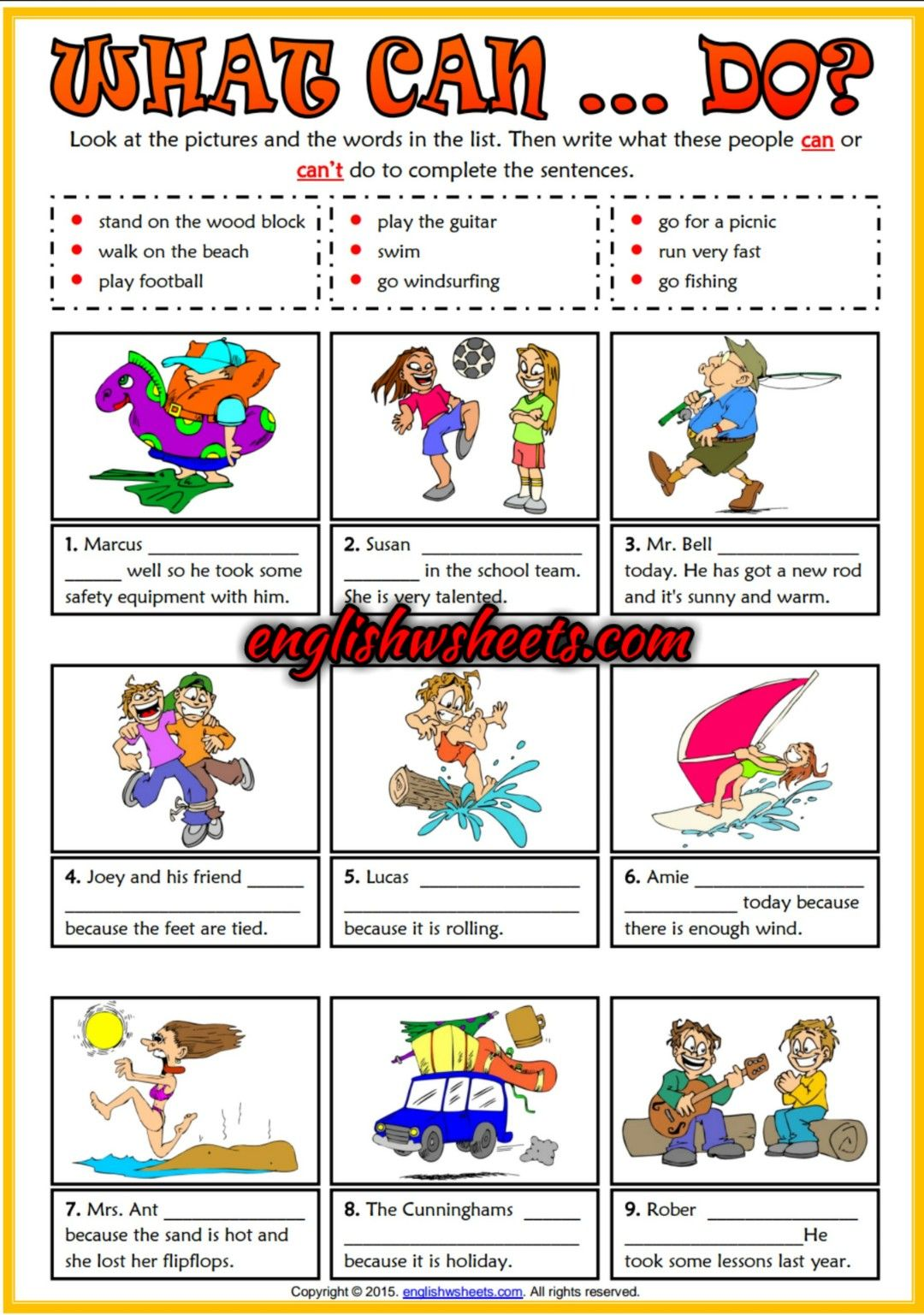 What Can They Do Esl Printable Grammar Exercise Worksheet