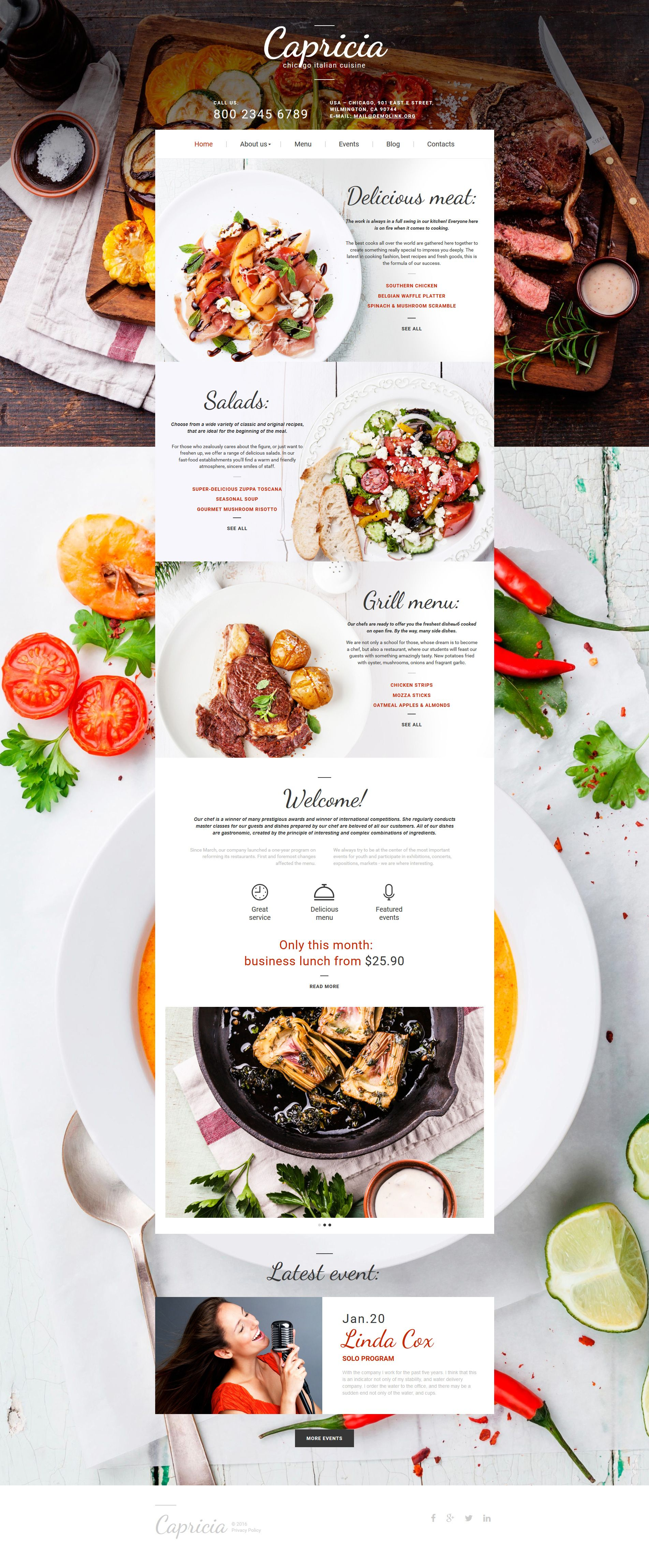 Italian Restaurant Responsive Moto CMS Template Template - Html restaurant menu template