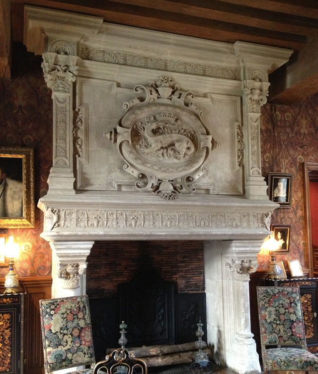One of the Monumental Fireplaces with François I's Emblem, the Salamander, at Chateau d'Azay-le-Rideau, France