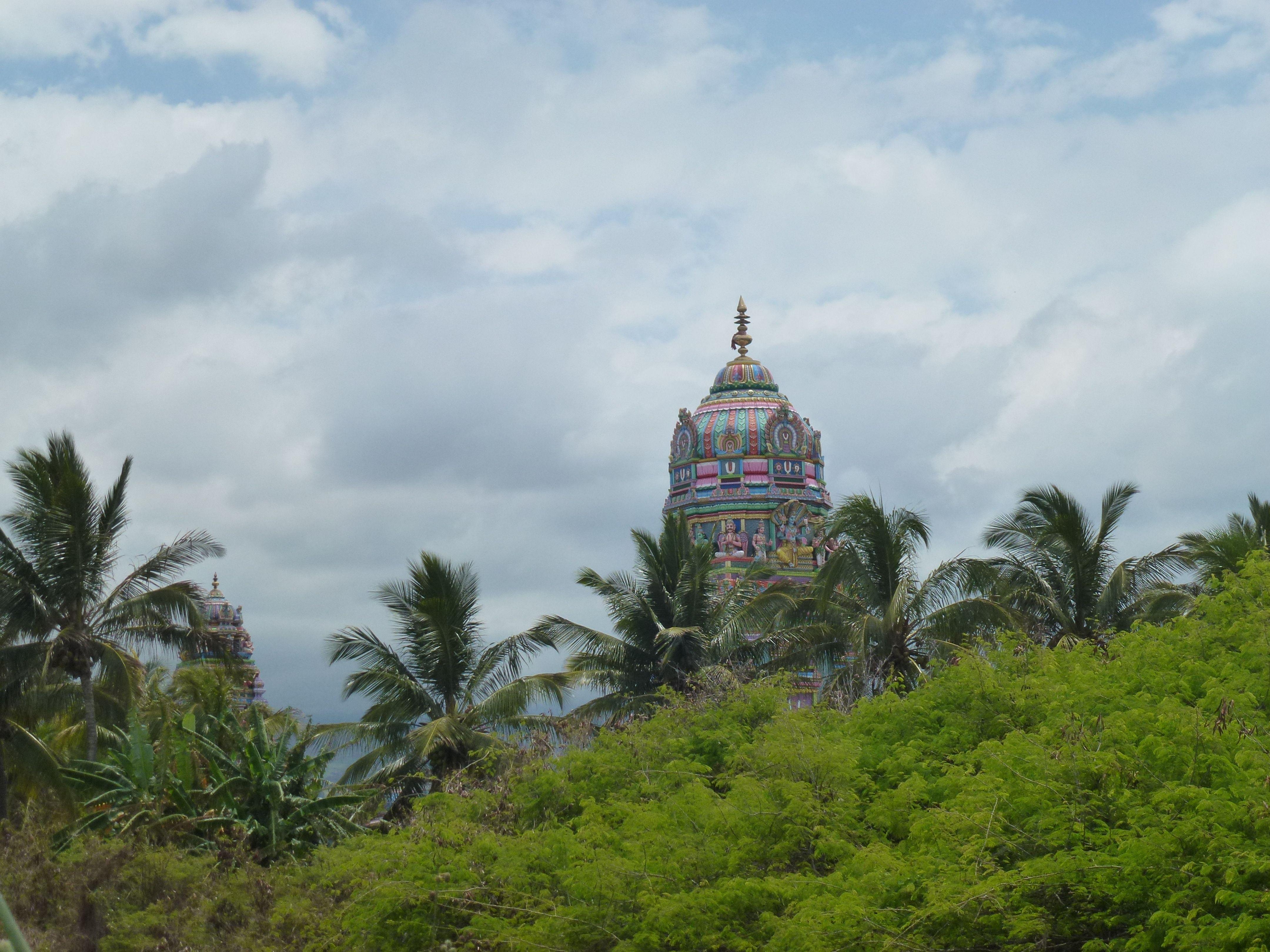 Hindu temple beautifully hidden behind the lush vegetation of La Reunion...