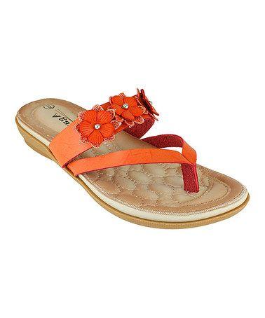 30621c4722655 Orange Qiana Rhinestone Flower Strap Sandal  tonjaamen
