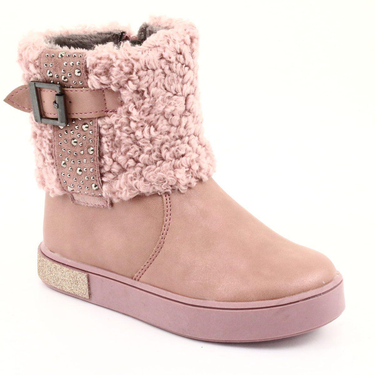 American Club Kozaczki Z Futerkiem Na Suwak Rozowe Boots Childrens Boots Fur Boots