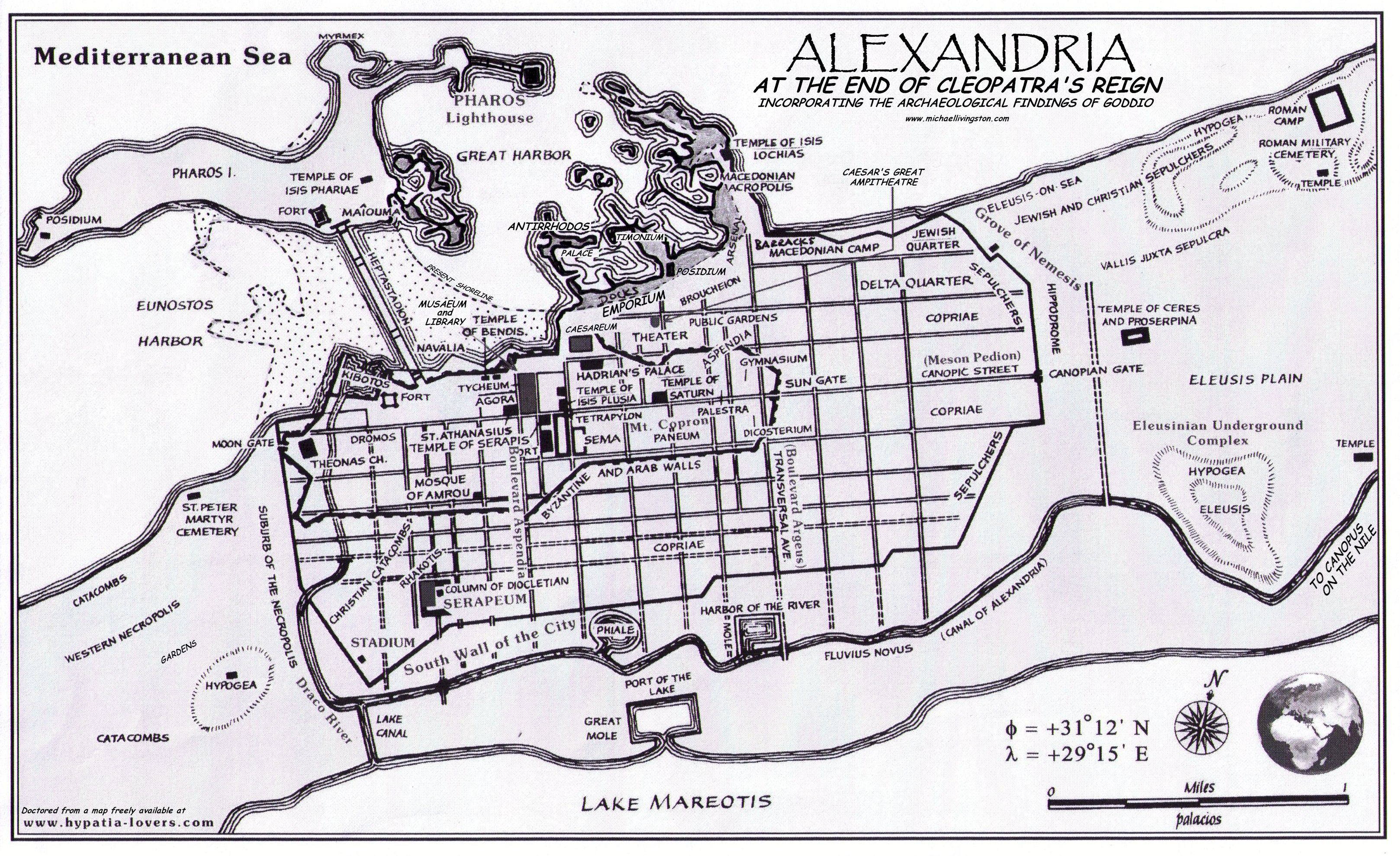 Map of Alexandria, Egypt, at the end of Cleopatra\'s Reign ...