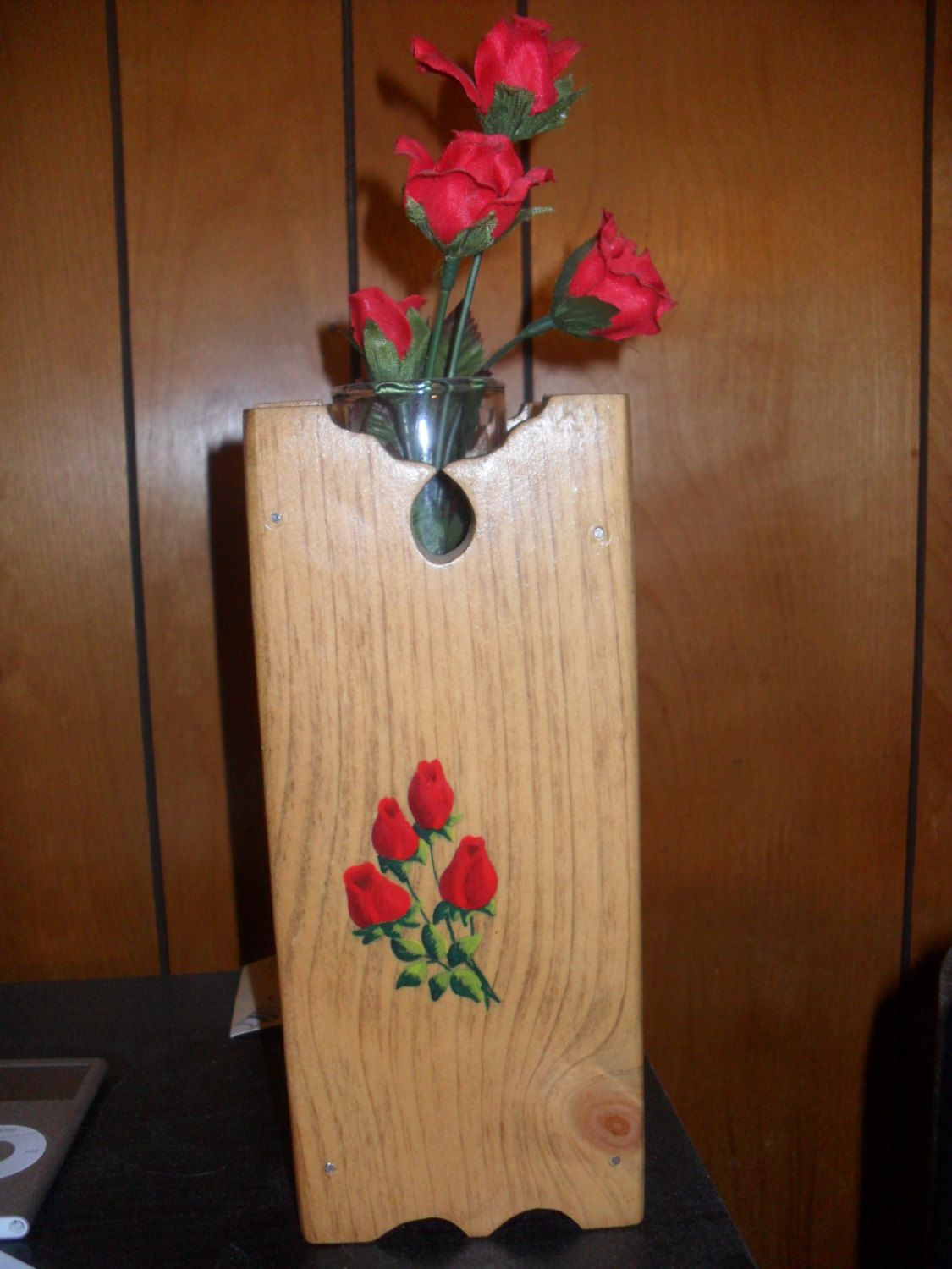 Vase wooden acrylic painting of a rose bud handmade and for Acrylic paint for wood crafts