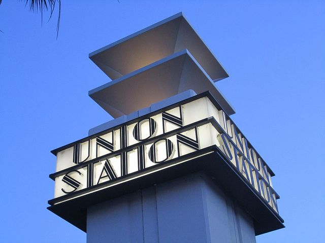 Union Station: art deco sign facing street, Los Angeles by Paul McClure DC, via Flickr