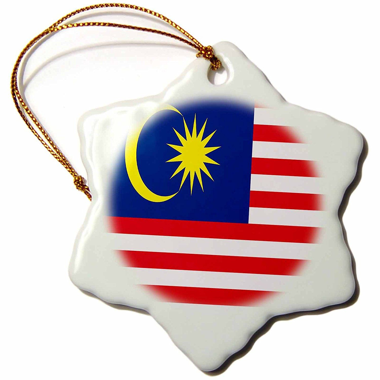 3dRose LLC Malaysia Flag 3Inch Snowflake Porcelain