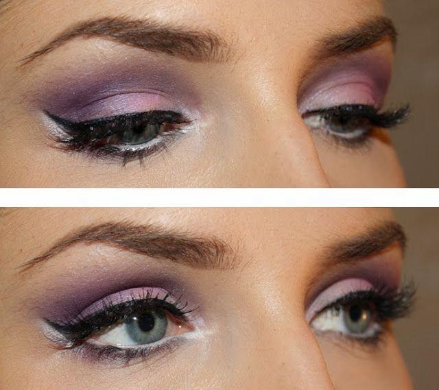 YSL Marrakesh Sunset palette (tummempi liila) Grimas Eyeshadow 760 (vaaleampi hohtava liila) MUS Cake eyeliner Lumene Blueberry eyepencil 7 (sisärajaus) Lancome doll eyes mascara MAC Fluidline dipdown (kulmat)