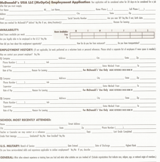 Print Out McDonald's Job Application Form in PDF