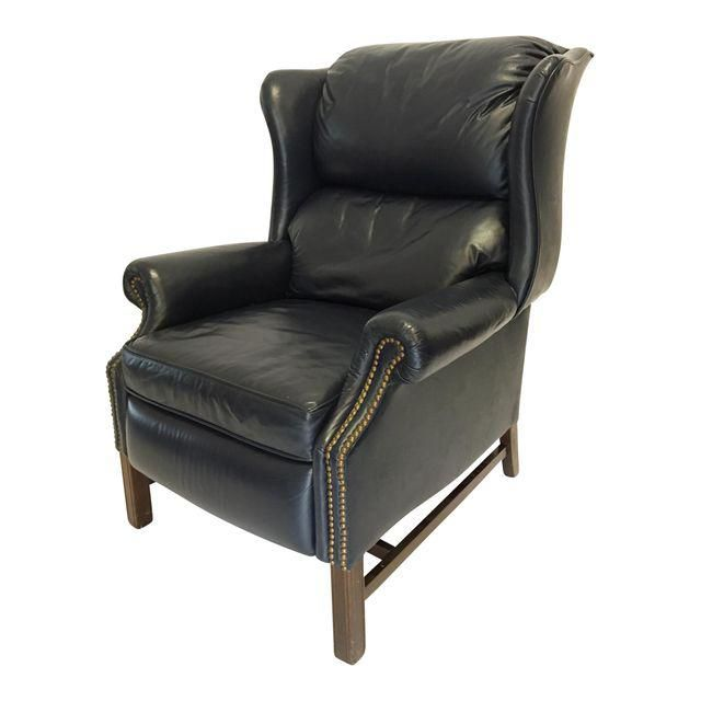 Enjoyable Lane Navy Leather Mid Century Wingback Recliner In 2019 Pdpeps Interior Chair Design Pdpepsorg