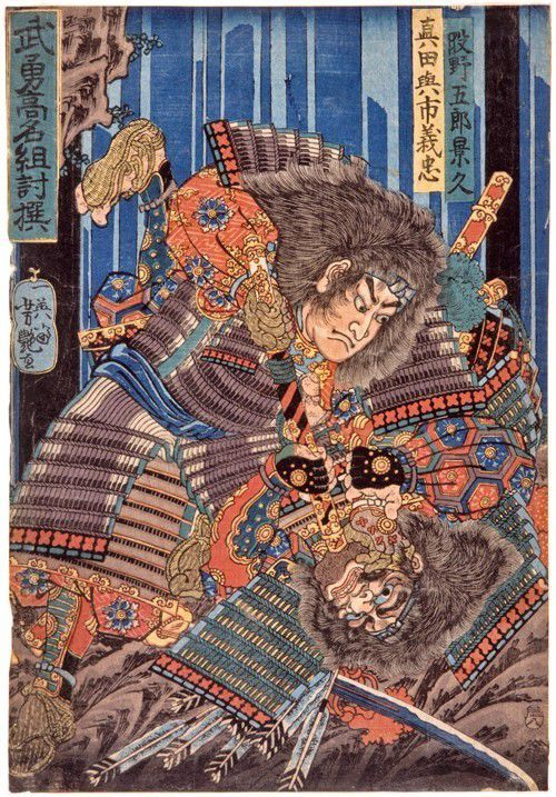 Japanese woodblock print showing two warriors wrestling