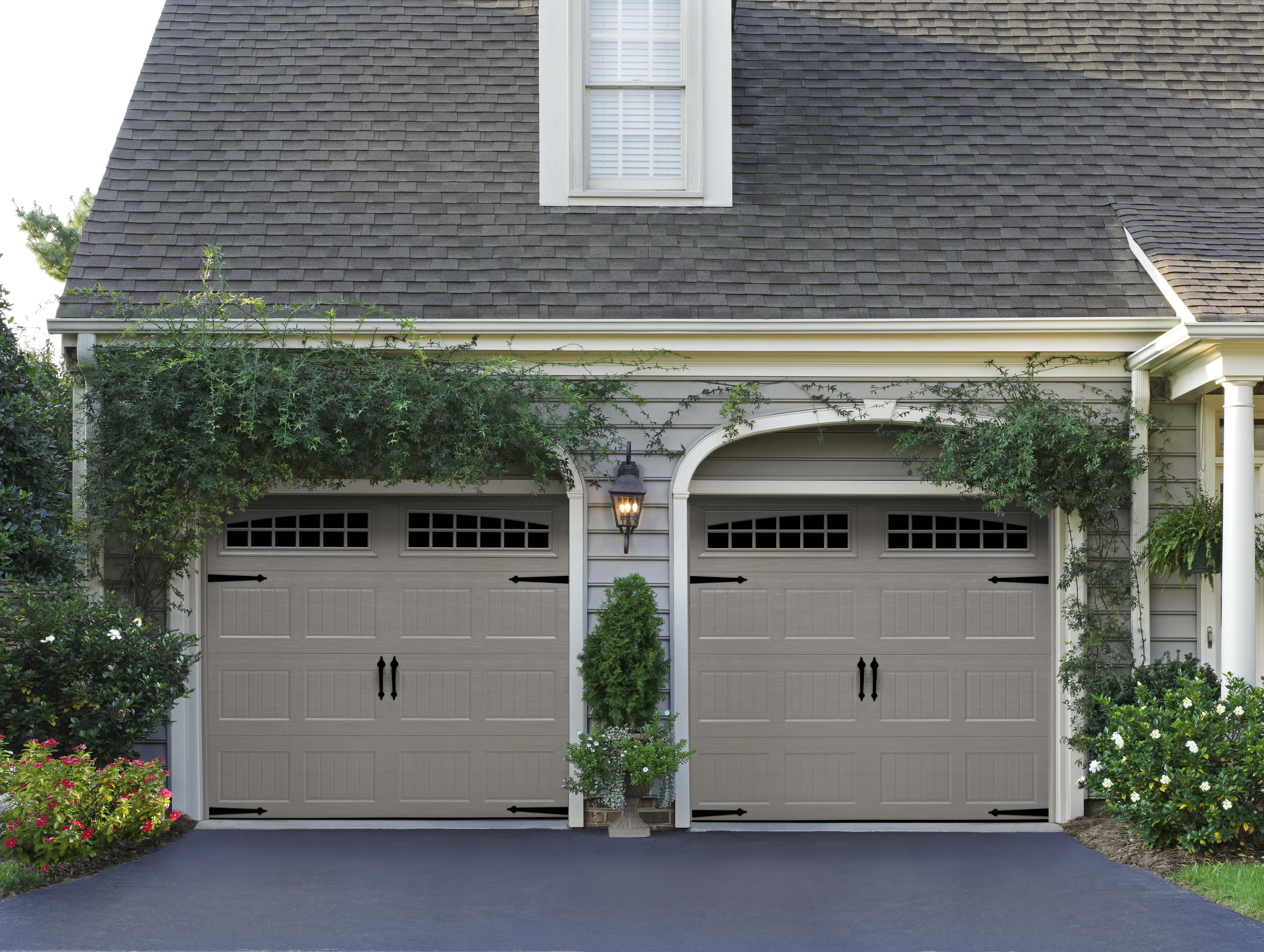 Classica northampton garage door white 9 x 8 no windows - Amarr Bead Board Panel Garage Door With Moonlite Decratrim And Optional Blue Ridge Handles And Strap