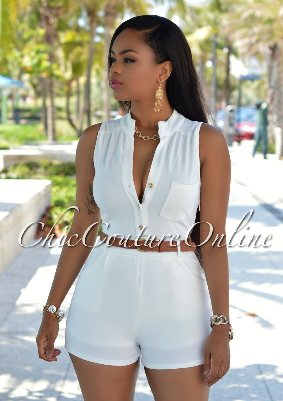 90119a847f60 Chic Couture Online - DiAmore Off-White Button Front Belted Romper ...