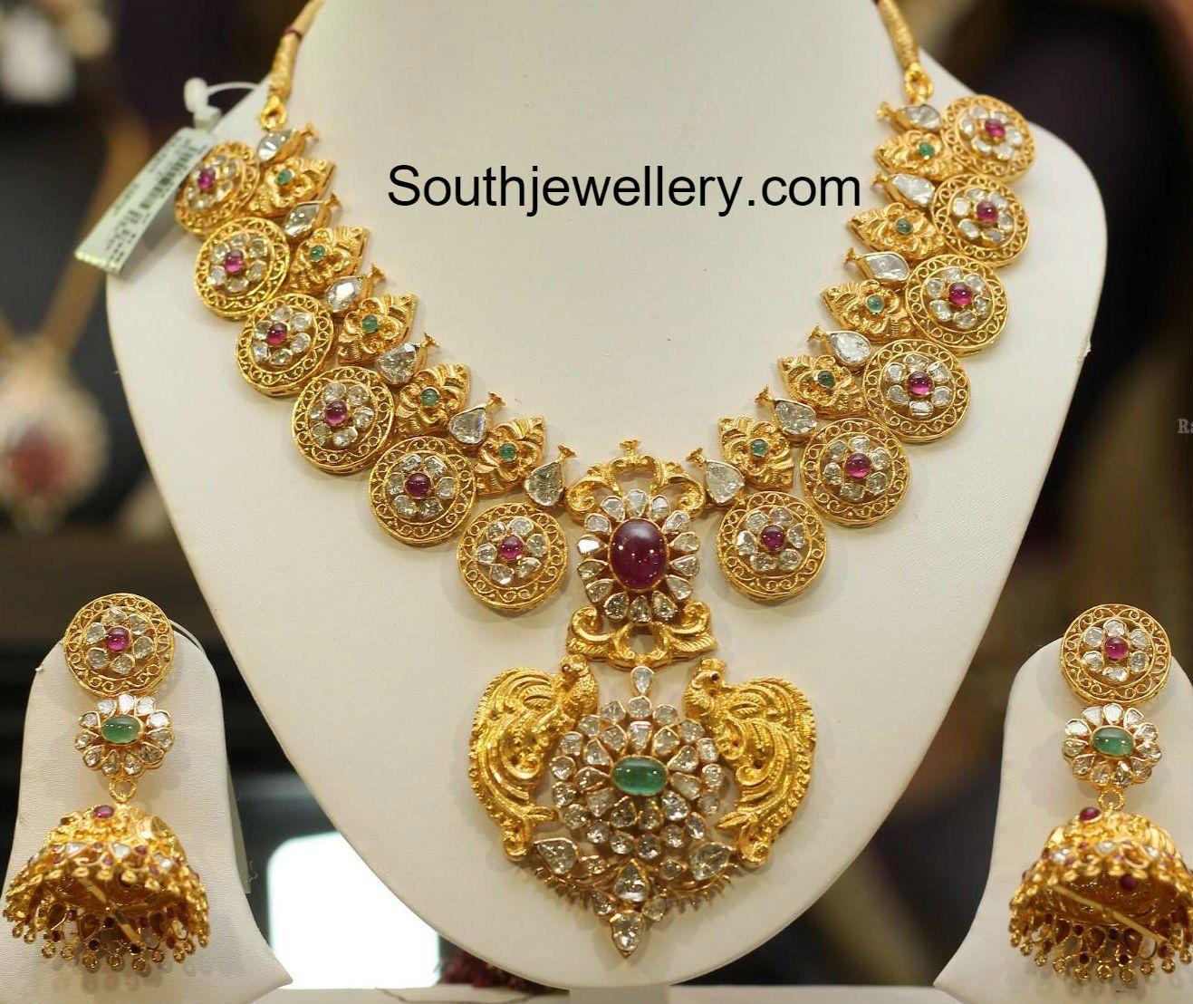Pacchi Necklace and Jhumkas Set   Jewellery I like   Pinterest ...