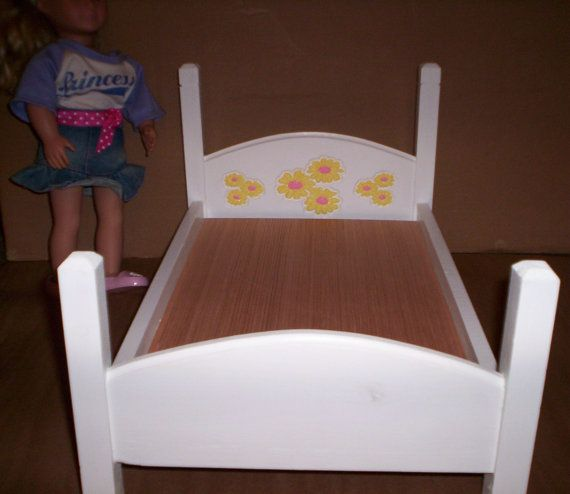 Charming Doll House Single Bed W/yellow Daisies Handcrafted For 18in Or  #americangirl Child