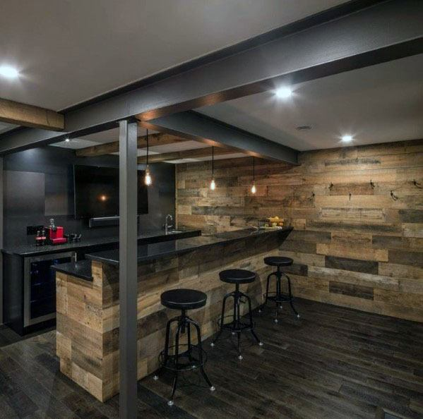 Top 70 Best Finished Basement Ideas Renovated Downstairs Designs Basement Bar Designs Rustic Basement Bar Rustic Basement