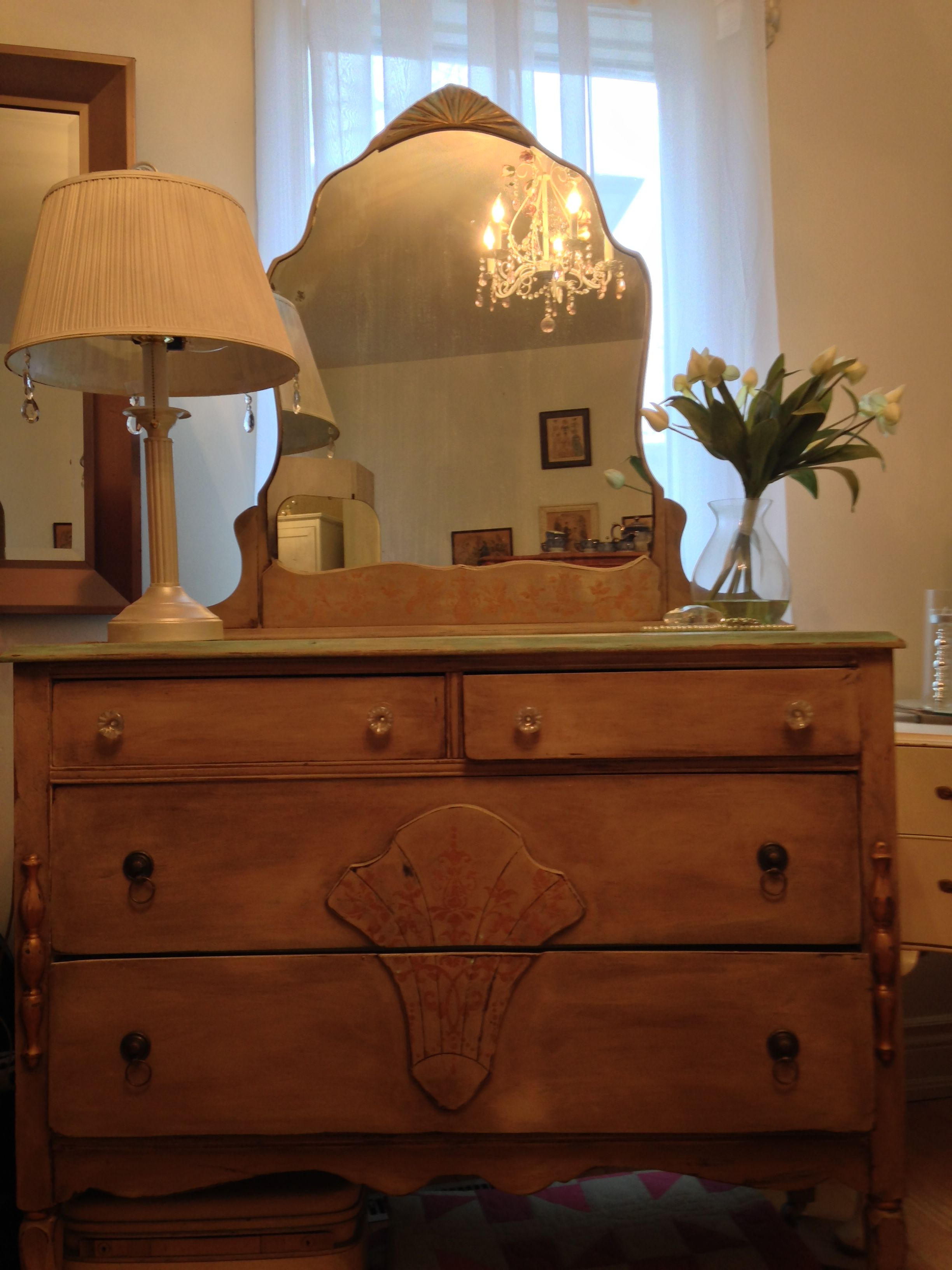 Best Antique Dresser With Mirror Circa 1930S Retransformed With Van Gogh Fossil Paints Available 400 x 300