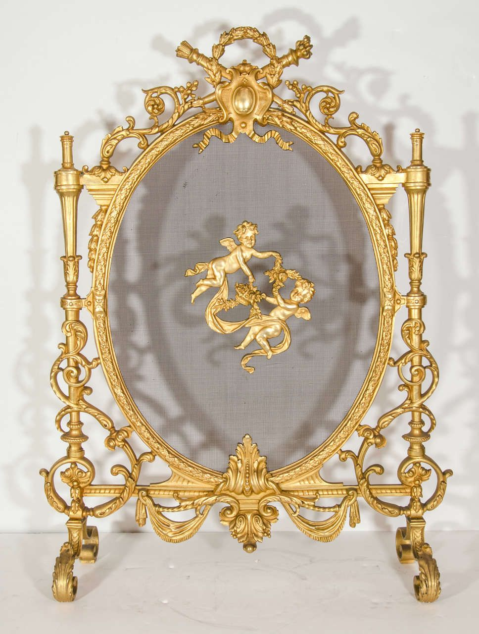 Antique French Louis XVI Style Gilt Bronze Fire Screen ...