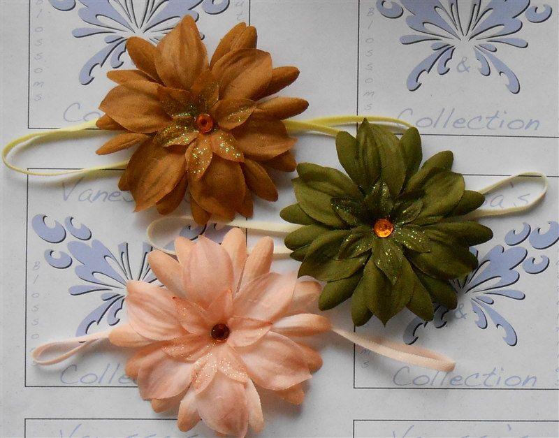 Baby Elastic Headbands Infant Flower Hairband Set Triplet Girls ...