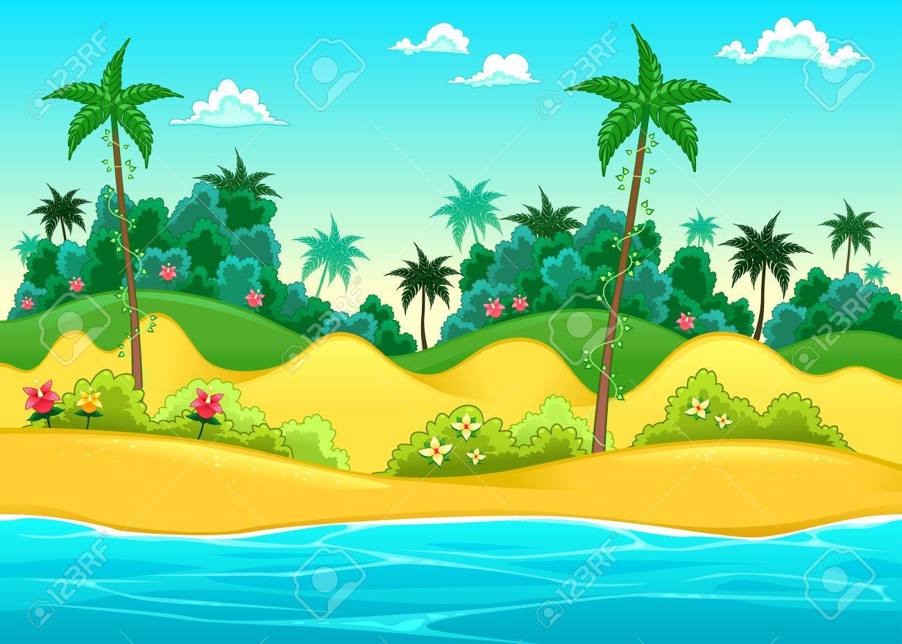 Paisaje En La Orilla Del Mar. Ilustración Vectorial De