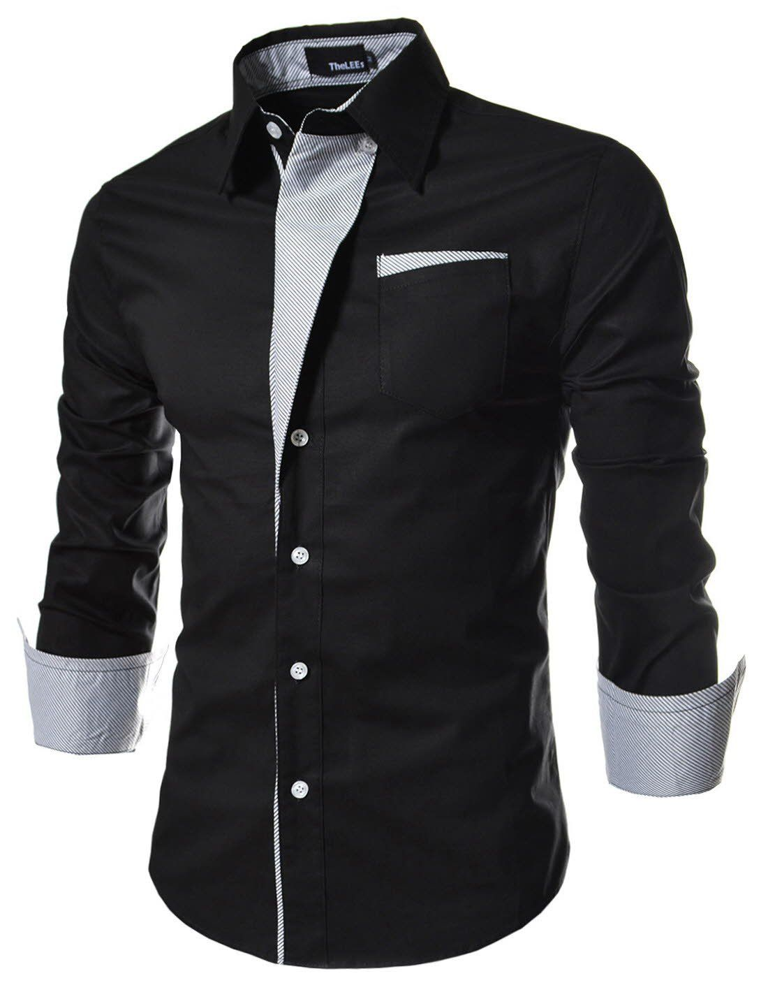 (N320) TheLees Mens Casual Long Sleeve Stripe Patched Fitted Dress Shirts Black Chest 38(Tag size L)