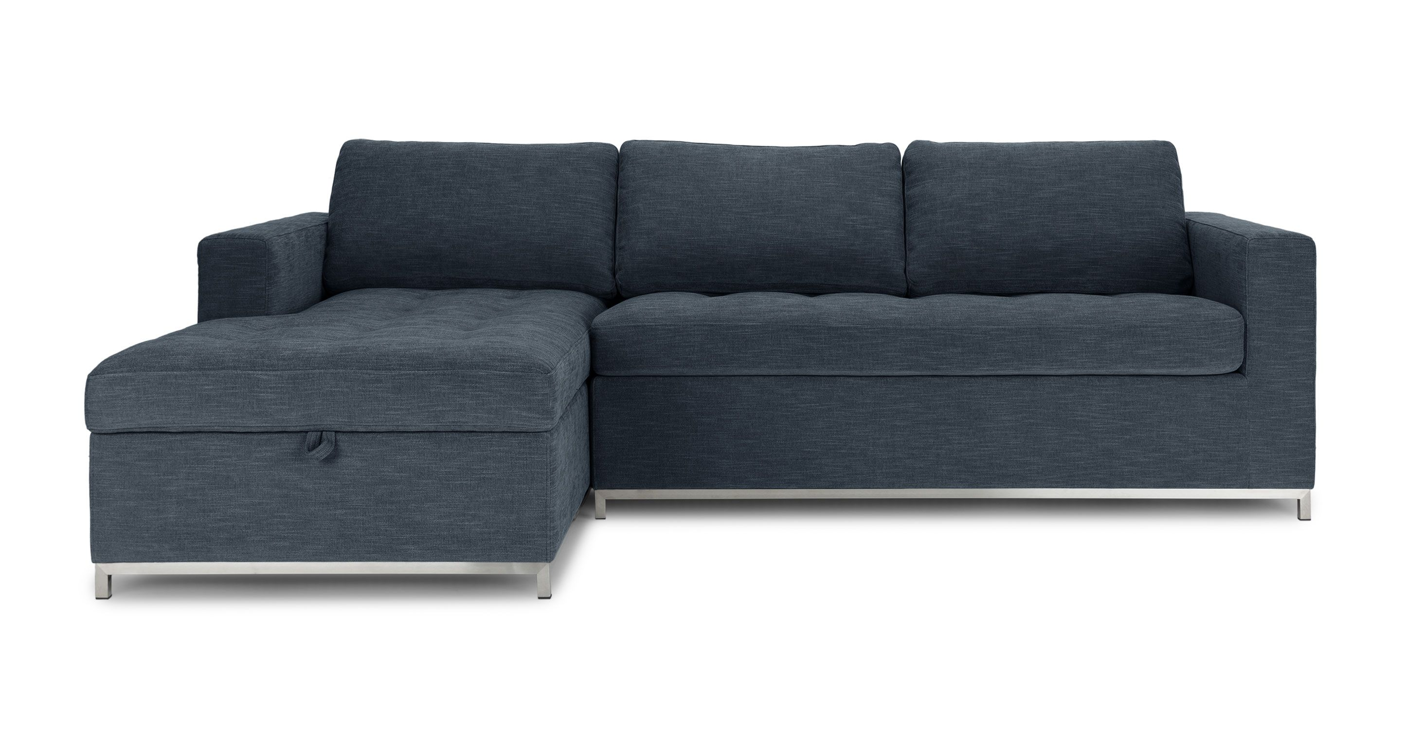 Dark Blue Sofa Bed Left Sectional Metal Legs