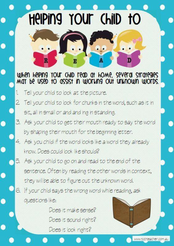 several strategies to help their children read unknown