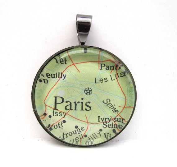 Vintage Map Pendant of Paris France in Glass by CarpeDiemHandmade, $10.00