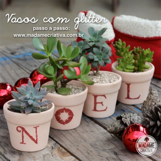 Vasos decorados para o Natal com glitter e adesivo dupla face Silhouette - Decorate vases using Silhouette double sided adhesive and glitter  - Cute idea for Christmas!