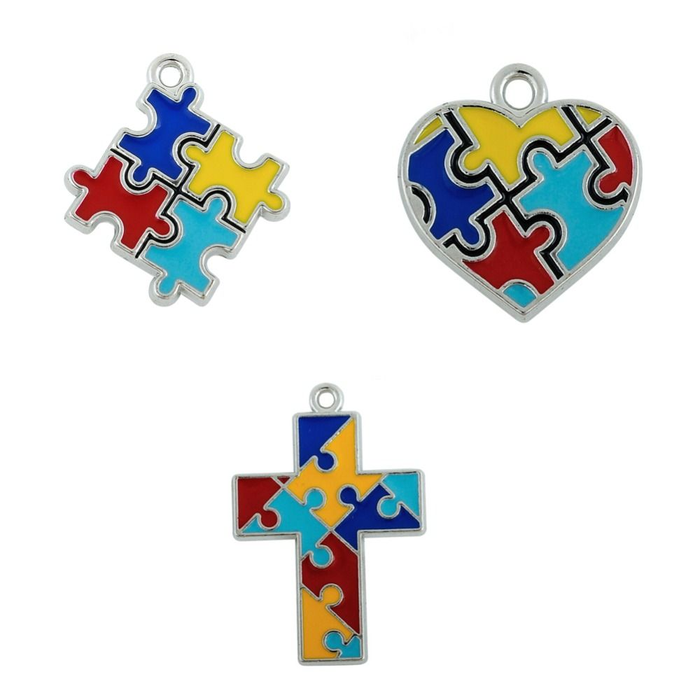 Minimal Brand Enamel Autism Awareness Jigsaw Puzzle Piece Charms