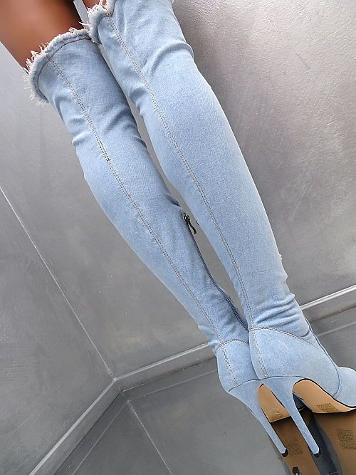 NEU 2018 HOHE Overknee Lang Stiefel Stretch Jeans Boots Q49