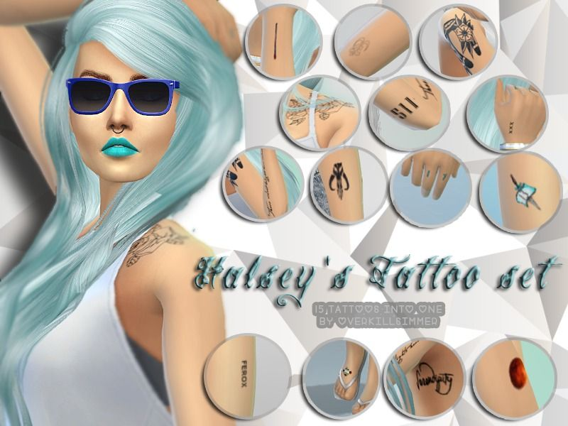 Tattoos set from Avril Lavigne, Demi Lovato, Miley Cyrus and Halsey.  Found in TSR Category 'Sims 4 Accessories Sets'