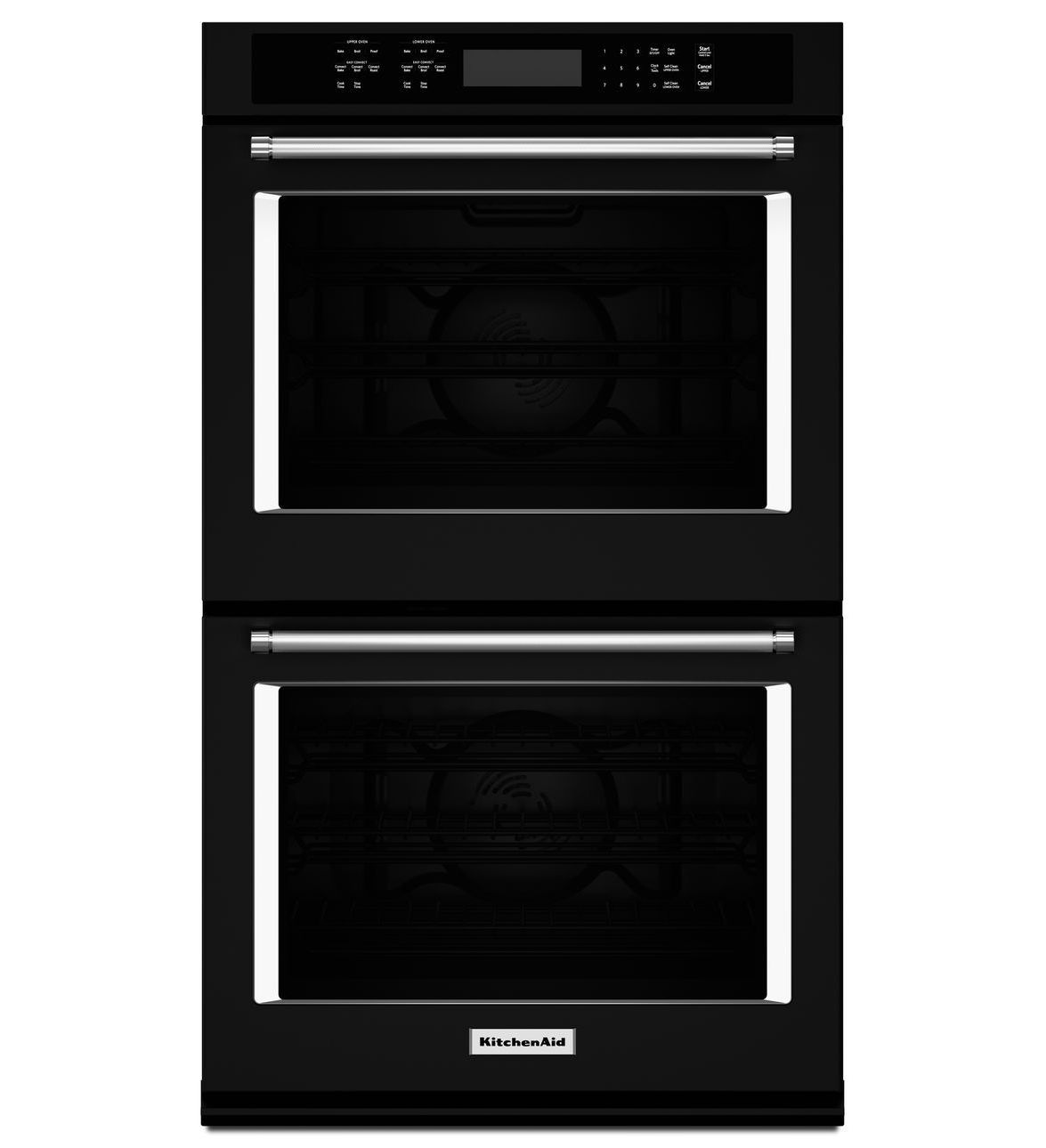 Black 30 double wall oven with evenheat true convection