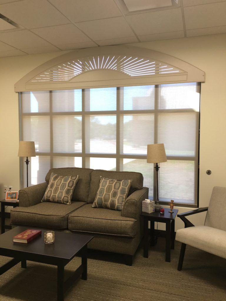 Affordable Arch Solution Custom Palladio Arch By Rockwood Perfect Over Hunter Douglas Designer Roller Blinds For Windows Living Room Blinds Bedroom Blinds