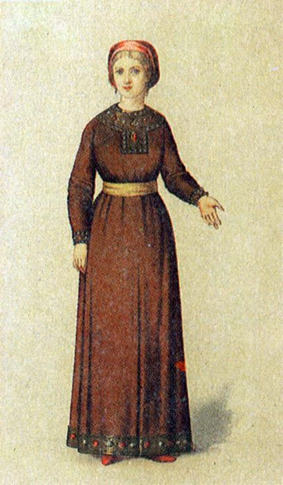 32825d3d091c A costume of a married woman in medieval Russia. The XIth century.   medieval  history  Russian  costume