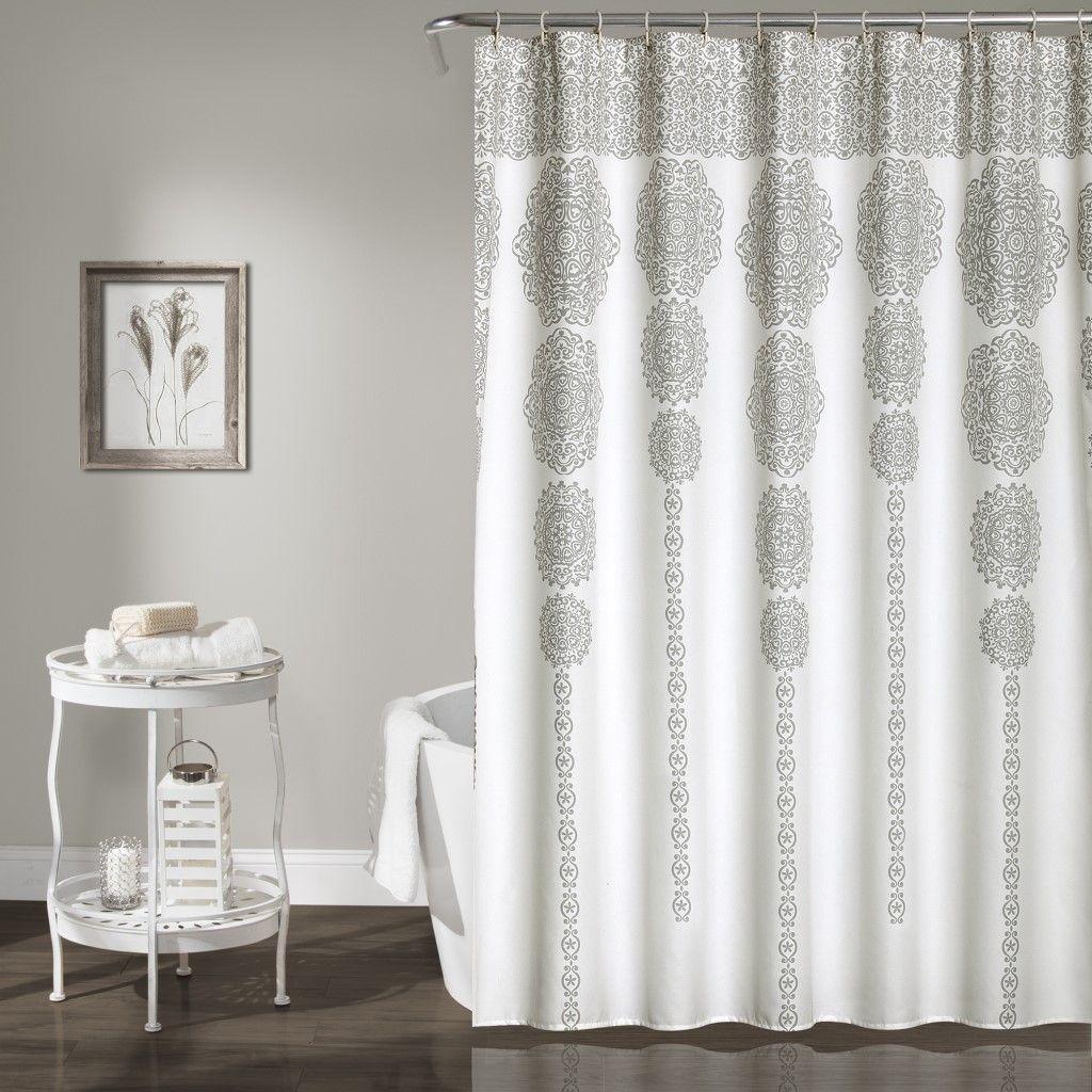 Stripe Medallion Shower Curtain Gray 72x72 Lush Decor 16t000942