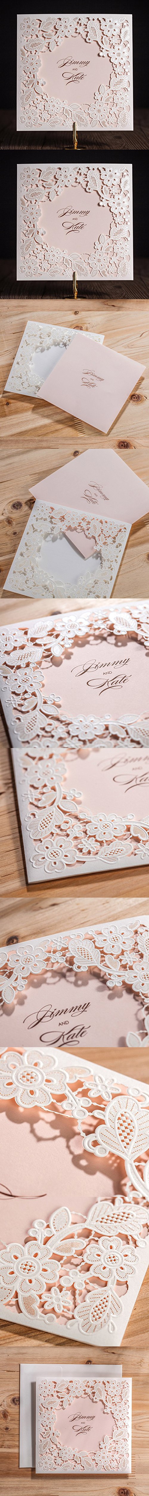 Wishmade 50x White Trifold Laser Cut Square Wedding Invitation Cards Kits with Embossed Hollow Floral Favors Bridal Shower Engagement Birthday Baby Shower Quinceanera