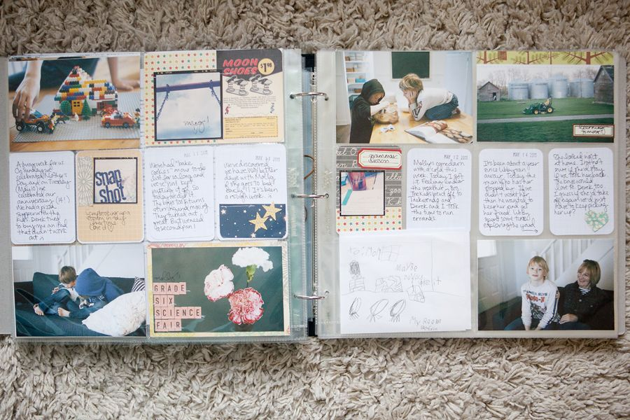 love the labels + small photos on journaling cards